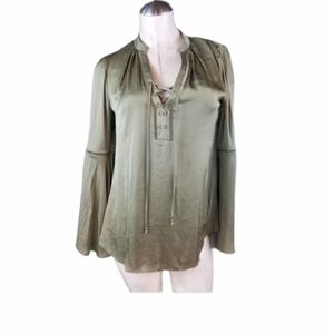 WHBM Size 0 Olive Green Blouse Bell Sleeves